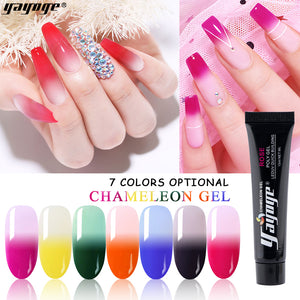 YAYOGE 15ml Temperature Color Change Polygel UV LED Trial Nail Extension Gel 7 Colors Selectable - YAYOGE Official