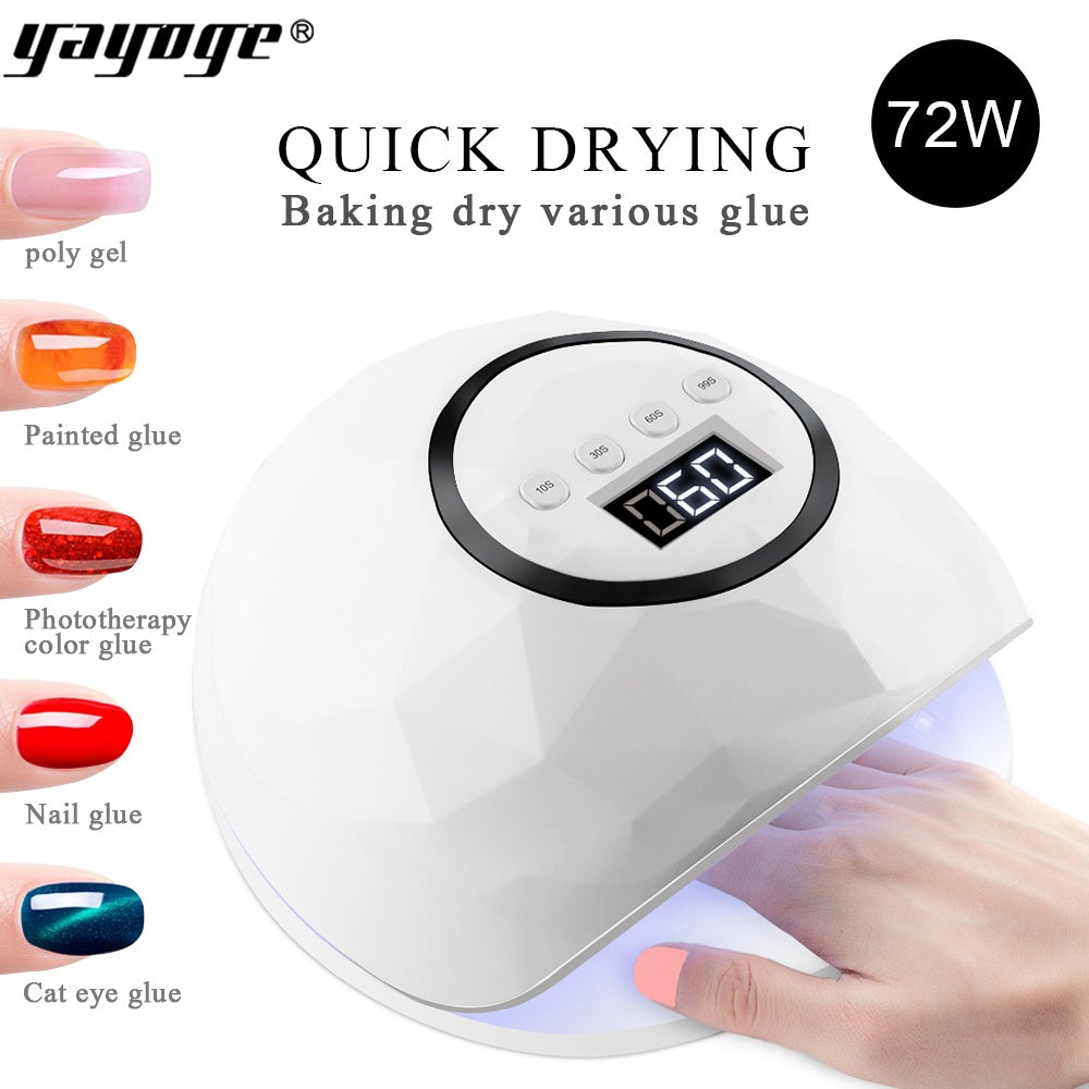 YAYOGE 72W High Power UV LED Nail Lamp Gel Dryer LCD Display Auto Sensor Curing Machine - YAYOGE Official