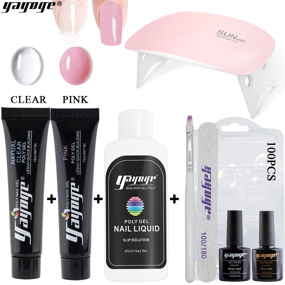 US WAREHOUSE YAYOGE 9Pcs/Set 15ml Polygel Set UV Gel Nail Extension Beginnner Kit - YAYOGE Official