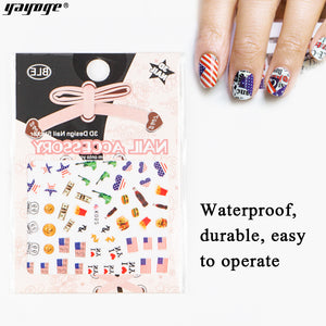 YAYOGE American Independence Day 3D Nail Art Sticker Decals DIY Nail Accessories - YAYOGE Official
