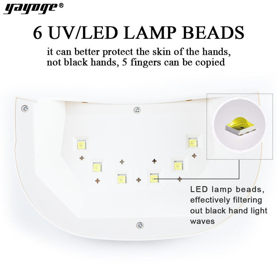 YAYOGE 18W UV LED Nail Dryer Lamp with USB Cable Double Light Source For All Gels - YAYOGE Official