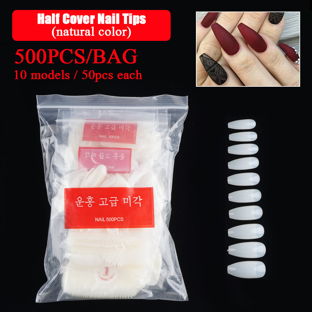 500Pcs/Set Half/Full Cover Ballerina Square French Ballet Acrylic Nail Art Tips