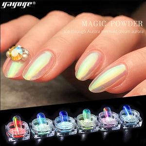 UK WAREHOUSE YAYOGE Aurora Ice Transparent Mirror Powder Nail Chrome - YAYOGE Official
