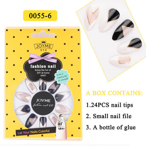 YAYOGE 1 Set 24Pcs Acrylic False Fake Nail Art Fingernail Full Tips with Glue Press On Nails Artificial Nail Tips - YAYOGE Official
