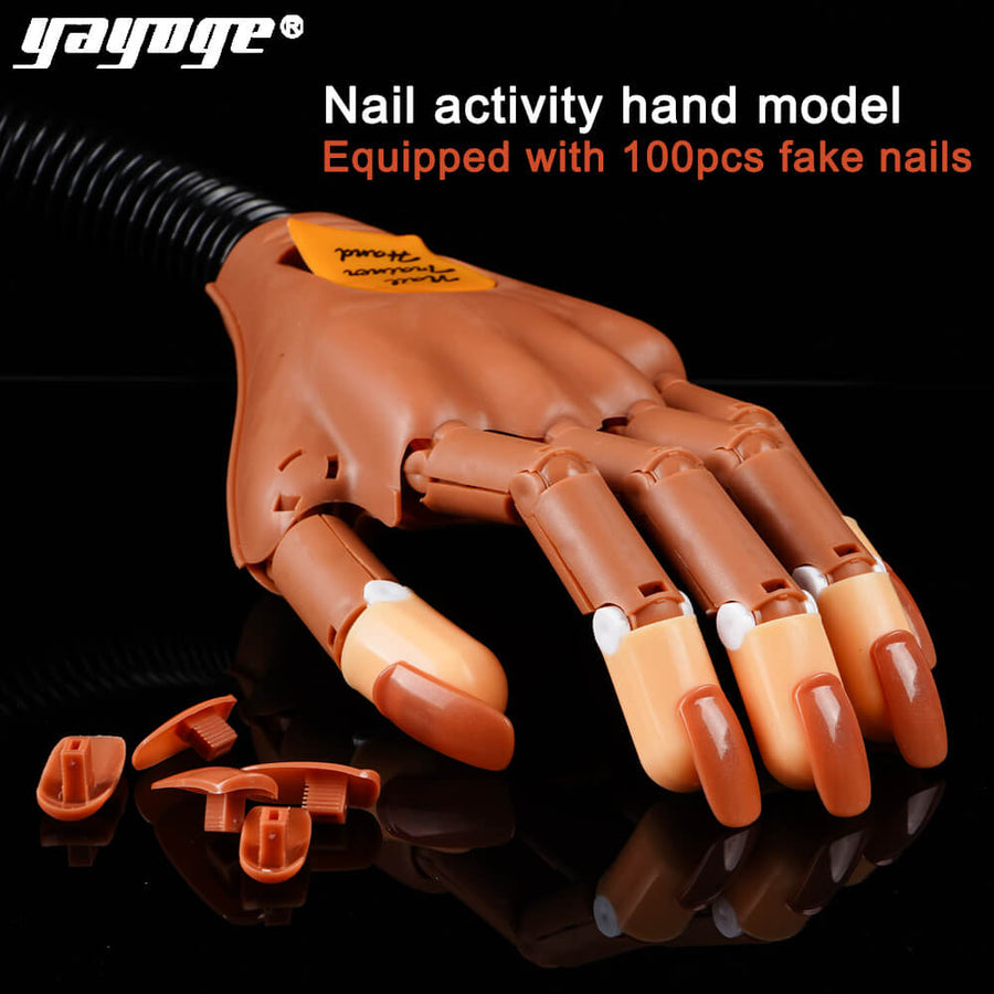 YAYOGE 1Pc Detachable Practice Hand+100pcs Nail Tips Nail Art Adjustable Hands Model For Training - YAYOGE Official