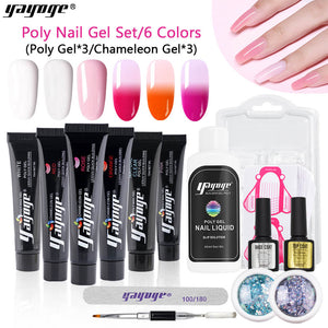 UK WAREHOUSE 15ml Polygel Pure Colors + Chameleon Color Polygel + Sparkling Ash Sequins - YAYOGE Official