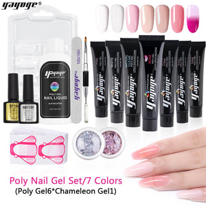 US WAREHOUSE 15ml Polygel Pure Colors + Chameleon Color Polygel + Sparkling Ash Sequins - YAYOGE Official