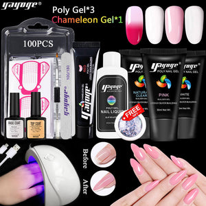 YAYOGE 13Pcs/Set UV LED Polygel Kit Finger Quick Builder Crystal Jelly Gel Nail Art Building Gel - YAYOGE Official