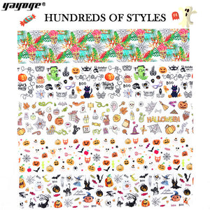 YAYOGE 10Pcs/Set Halloween Nail Art Transfer Foil Sticker Horror Pumpkin Best Party Nail Art Sticker - YAYOGE Official
