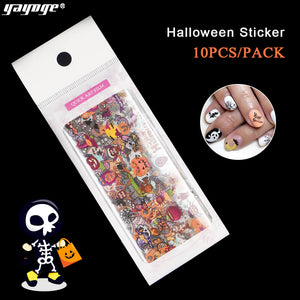 US WAREHOUSE YAYOGE 10Pcs/Set Halloween Nail Art Transfer Foil Sticker Horror Pumpkin Best Party Nail Art Sticker - YAYOGE Official