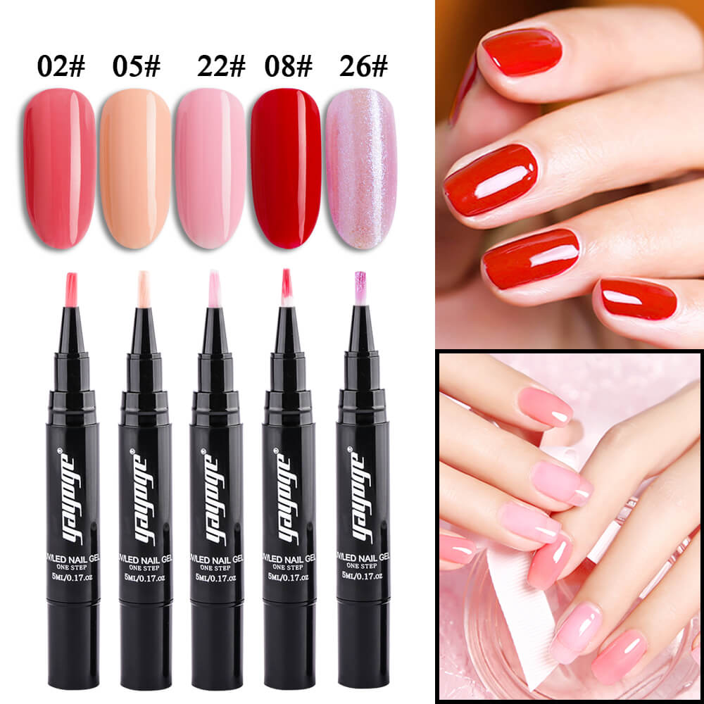 US WAREHOUSE YAYOGE 5Pcs/Set One Step Gel Nail Pen Kit YBJ-S1(5ml)