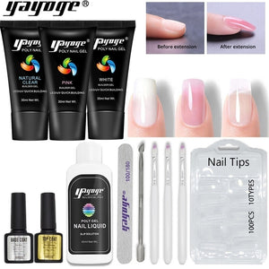 UK WAREHOUSE YAYOGE Polygel Kit Quick Nail Builder UV LED Crystal Nail Gel Extension Hard Jelly Kit - YAYOGE Official