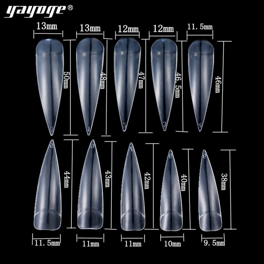 US WAREHOUSE YAYOGE 500Pcs/Set Nail Stiletto Sharp French Nail Tips Acrylic Fake Nails - YAYOGE Official