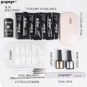 US WAREHOUSE YAYOGE 16Pcs/Set Poly Gel Kit 6W UV LED Nail Lamp Nail Extension Set Nail Art DIY Beginner Kit - YAYOGE Official