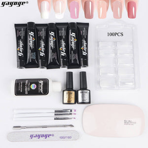 US WAREHOUSE YAYOGE 17Pcs/Set Poly Gel Kit 6W UV LED Nail Lamp Nail Extension Set Nail Art DIY Beginner Kit - YAYOGE Official