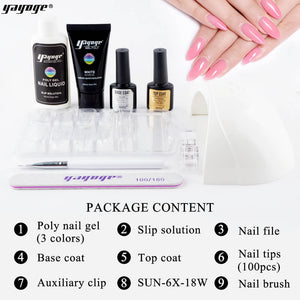 UK WAREHOUSE YAYOGE Poly Gel Set with 18W Lamp UV Gel Nail Art Kit Hard Jelly Nail Extension Gel - YAYOGE Official