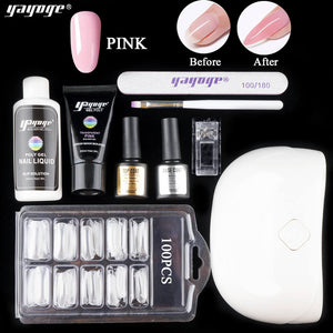 US WAREHOUSE YAYOGE Poly Gel Set with 18W Lamp UV Gel Nail Art Kit Hard Jelly Nail Extension Gel - YAYOGE Official