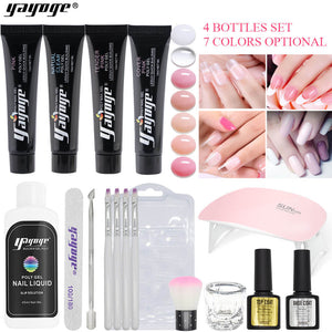 US WAREHOUSE YAYOGE 17Pcs/Set Polygel Set with 18W UV LED Nail Lamp  Nail Art Quick Building Complete Kit - YAYOGE Official