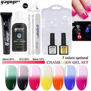 US WAREHOUSE YAYOGE 9Pcs/Set 15ml Color Changing Polygel Set Quick Builder Nail Extension Gel Kit - YAYOGE Official
