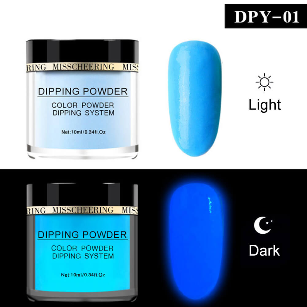 Luminous Dip Powder Glow in Dark Fluorescent Glitter Pigment DPY(10ml)