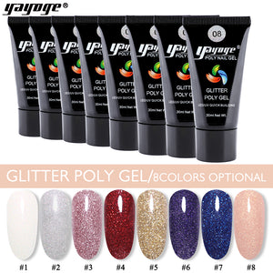 UK WAREHOUSE YAYOGE 30ml Glitter Polygel UV LED Quick Nail Builder - YAYOGE Official