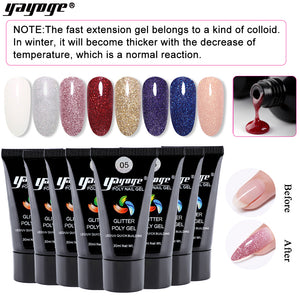 US WAREHOUSE YAYOGE 30ml Glitter Polygel UV LED Quick Nail Builder - YAYOGE Official