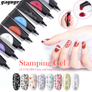 YAYOGE 12Colors 8ml Nail Stamping Gel Soak Off Varnish Stamping UV Gel for Nail Art Stamping Plate - YAYOGE Official