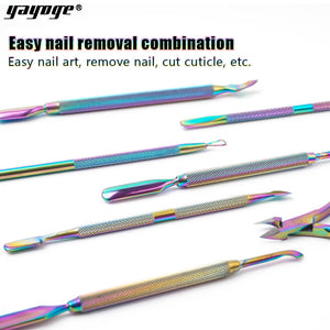 YAYOGE Rainbow Nail Cuticle Pusher Stainless Steel Tweezer Clipper Dead Skin Remover Scissor Nipper Nail Manicure Tool