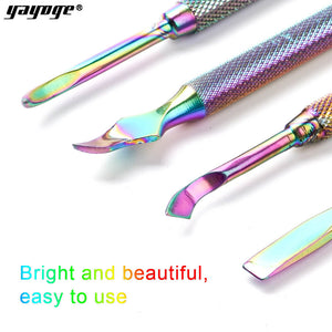 YAYOGE Rainbow Nail Cuticle Pusher Stainless Steel Tweezer Clipper Dead Skin Remover Scissor Nipper Nail Manicure Tool - YAYOGE Official