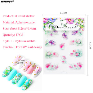YAYOGE 10 Styles 5D Embossed Nail Decals Stickers Self-Adhesive Nail Decorations Nail Tips Decor - YAYOGE Official