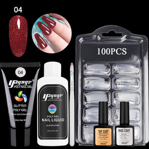 YAYOGE 13/6Pcs Glitter Polygel Kit UV LED Nail Art Kit