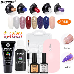 US WAREHOUSE YAYOGE 7Pcs 30ml Glitter Polygel Kit UV LED Quick Extension Nail Art Salon Set