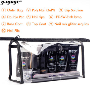 YAYOGE Portable 12Pcs/Set 30ml Polygel Bag Kit UV LED Quick Builder Nail Extension Kit Bag - YAYOGE Official