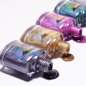YAYOGE 12ml Highly Pigmented Holographic Nail Polish Unltra Fine Glitter Varnish Nail Laser Lacquer