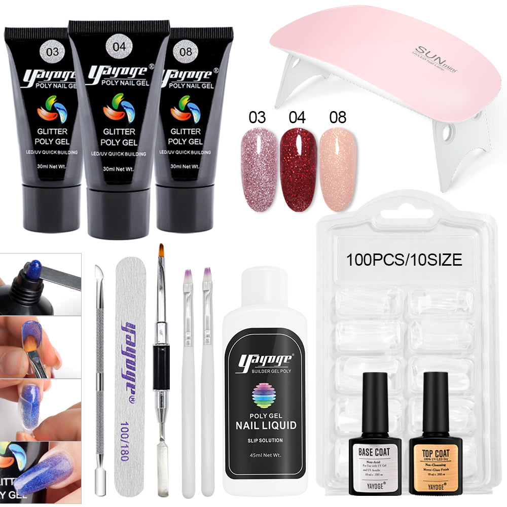 YAYOGE 13Pcs/Set 30ml Polygel Set UV LED Polygel Kit Finger Nail Extension Hard Gel with 6W Nail Lamp