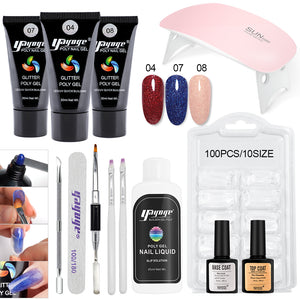 YAYOGE 13Pcs/Set 30ml Polygel Set UV LED Polygel Kit Finger Nail Extension Hard Gel with 6W Nail Lamp - YAYOGE Official