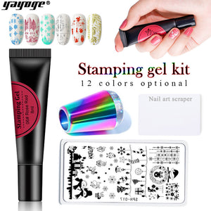 YAYOGE Soak Off Stamping Gel + Stamping Plate + Stamer Scraper Kit - YAYOGE Official