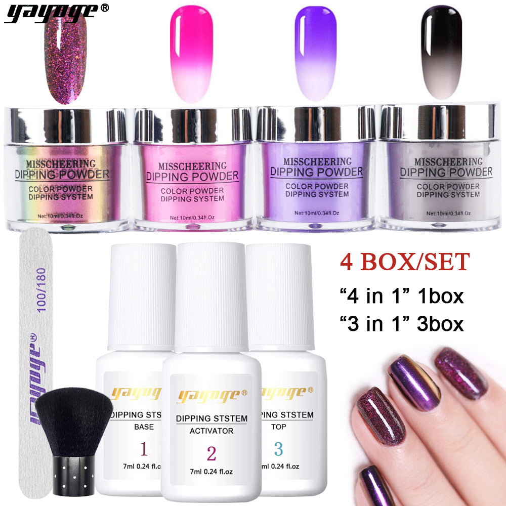 US WAREHOUSE YAYOGE 9Pcs/Set Nail Dipping Powder Dip System Top Base Coat Starter Kit - YAYOGE Official