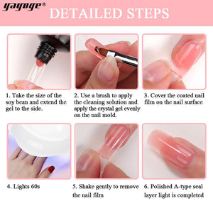US WAREHOUSE YAYOGE 12Pcs 30ml Polygel Base Top Coat Set + 6W LED Lamp + Nail Mold Tips Complete Kit - YAYOGE Official