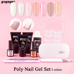 US WAREHOUSE YAYOGE 13Pcs/Set 3Colors Polygel Gel Set UV LED Nail Extension Kit - YAYOGE Official