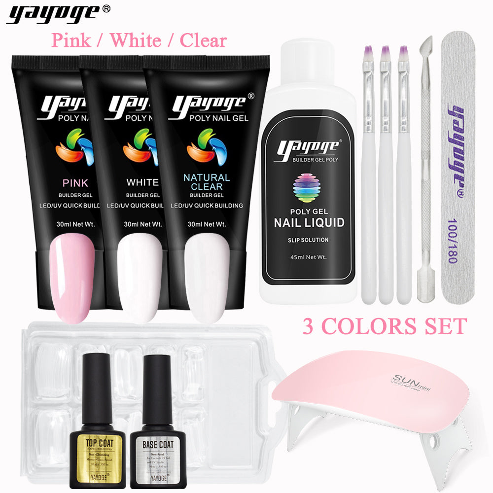 YAYOGE 13Pcs/Set 3Colors Polygel Gel Set UV LED Nail Extension Kit
