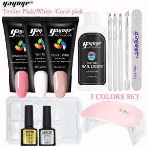 US WAREHOUSE YAYOGE 13Pcs/Set 3Colors Polygel Gel Set UV LED Nail Extension Kit