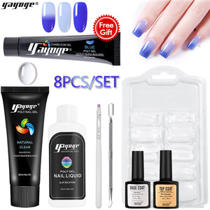 US WAREHOUSE YAYOGE 7Pcs 60ml Clear Polygel Kit   15ml Blue Color Changing Polygel - Only 14.79$ - YAYOGE Official
