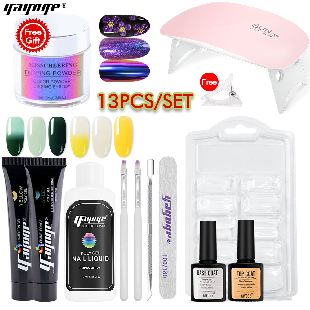 US WAREHOUSE YAYOGE 12Pcs 15ml Color Changing Polygel Kit + 4in1 Dipping Powder #06 - Only 20.96$ - YAYOGE Official