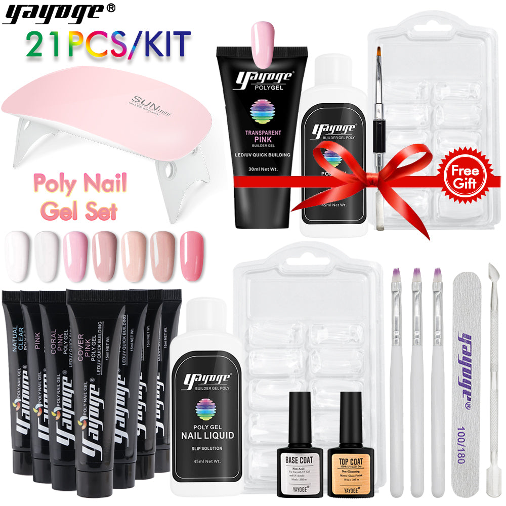 US WAREHOUSE YAYOGE 17Pcs 15ml 7Colors Polygel Kit + 4Pcs 30ml Pink Polygel Kit - Only 33.57$ - YAYOGE Official