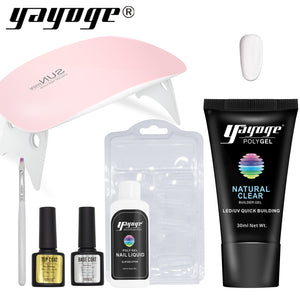 US WAREHOUSE YAYOGE 7Pcs 30ml Polygel Kit with 6W Pink Nail Lamp + 56g Builder Gel - Only 19.99$ - YAYOGE Official