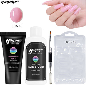 US WAREHOUSE YAYOGE 13Pcs 3Colors Polygel Kit with White 6W LED Nail Lamp   4Pcs Pink Polygel Kit - Only 34.69$ - YAYOGE Official