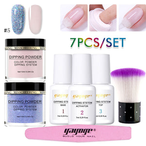 YAYOGE 7Pcs/Set Natural Dry Pure Color & Glitter Dipping Powder Kit - YAYOGE Official