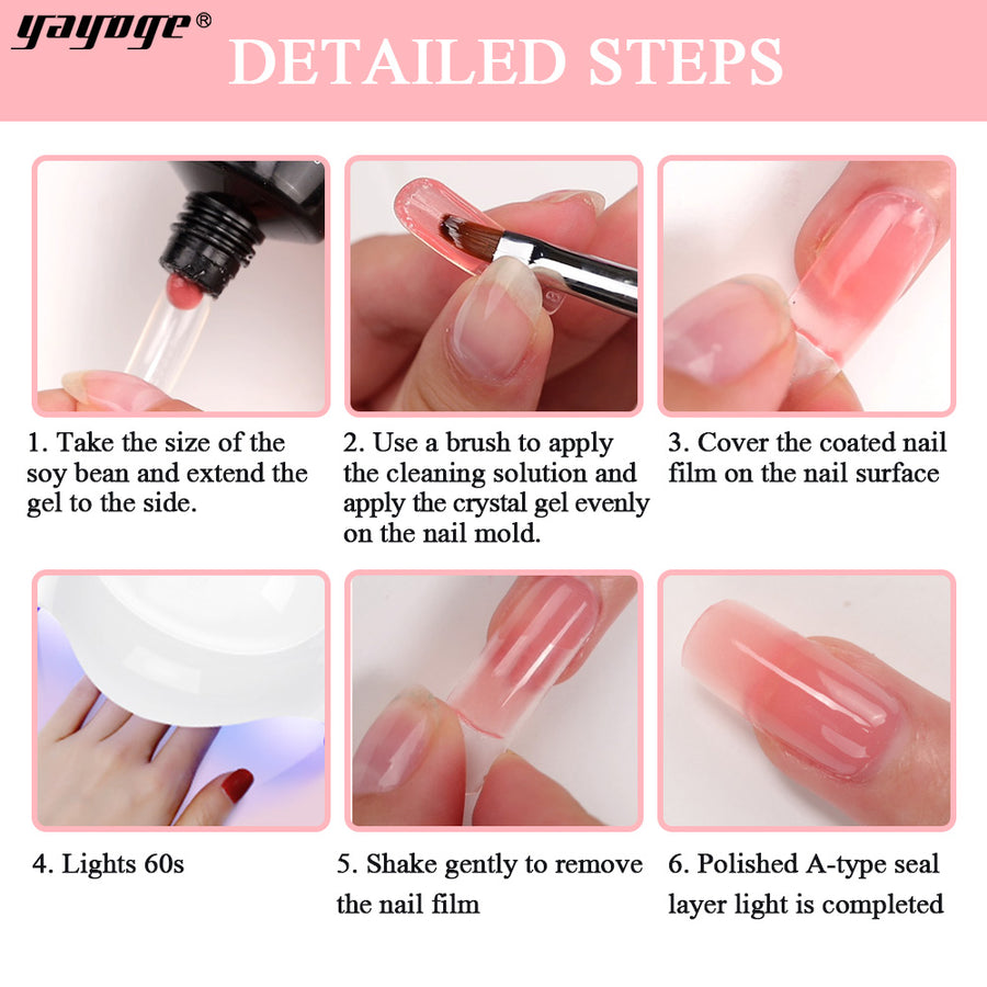 US WAREHOUSE YAYOGE White+Pink 15ml Polygel Kit UV LED Quick Building Finger Extension - YAYOGE Official