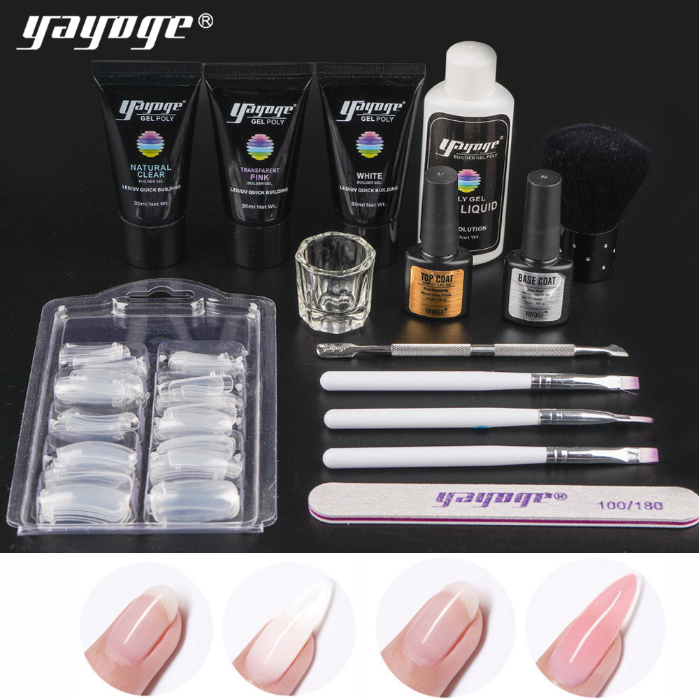 UK WAREHOUSE 14Pcs/Set 3Colors 30ml Polygel Set UV LED Nail Extension - YAYOGE Official